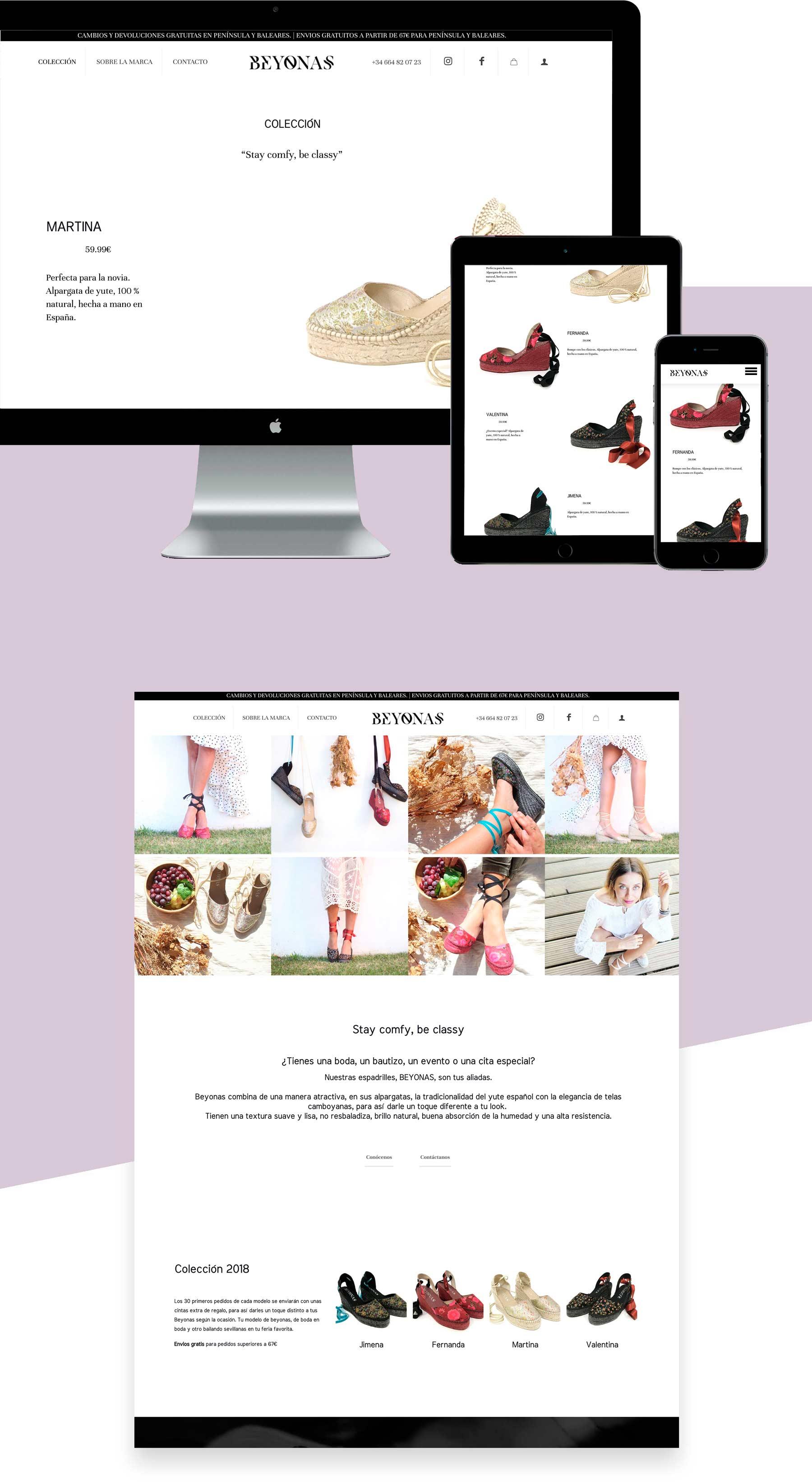 diseño web de tienda online de moda ( ropa, espadrilles, alpargatas)