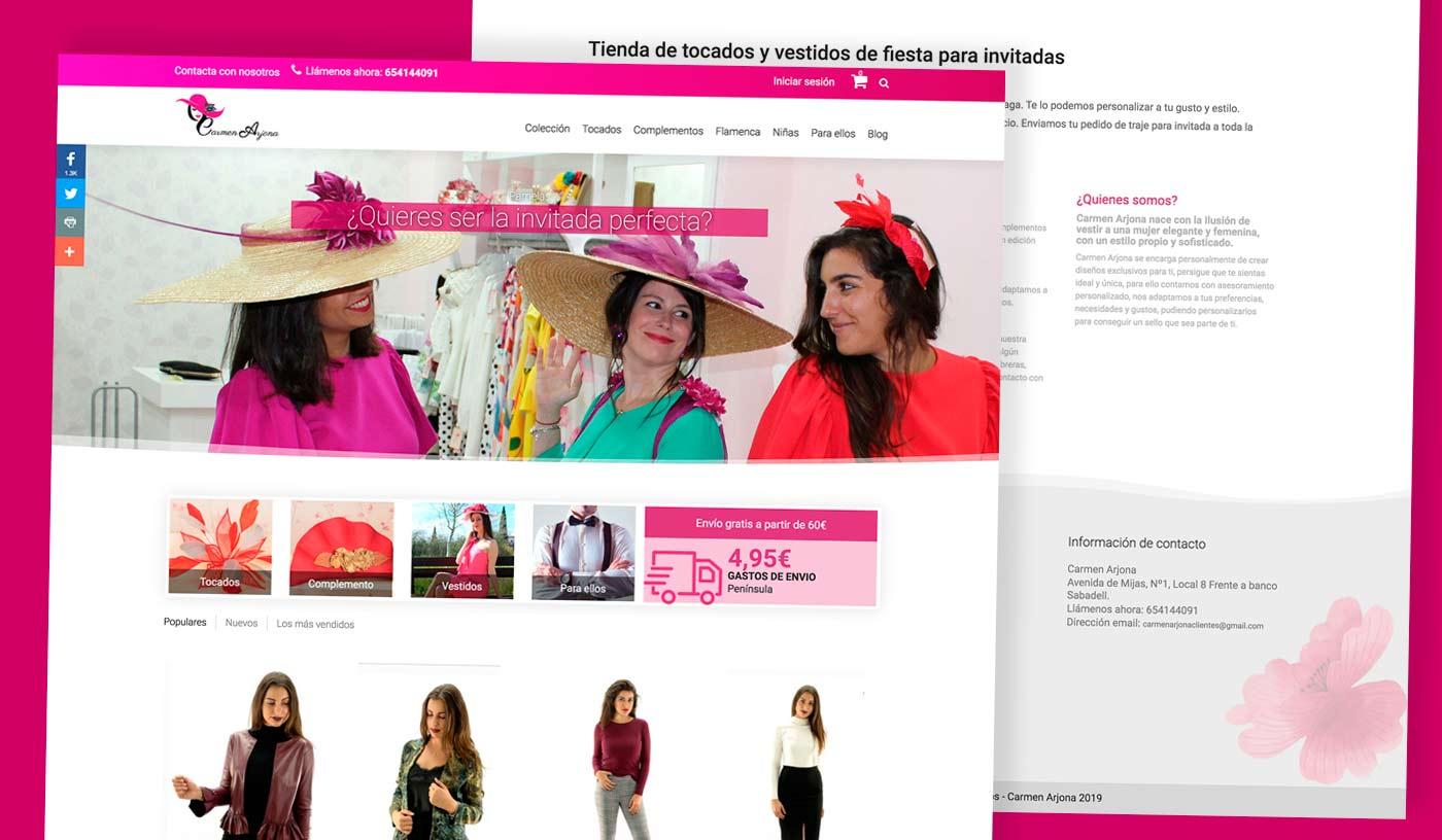 Diseño de tienda online de tocados y vestidos de invitada en Málaga - Fuengirola - Mijas