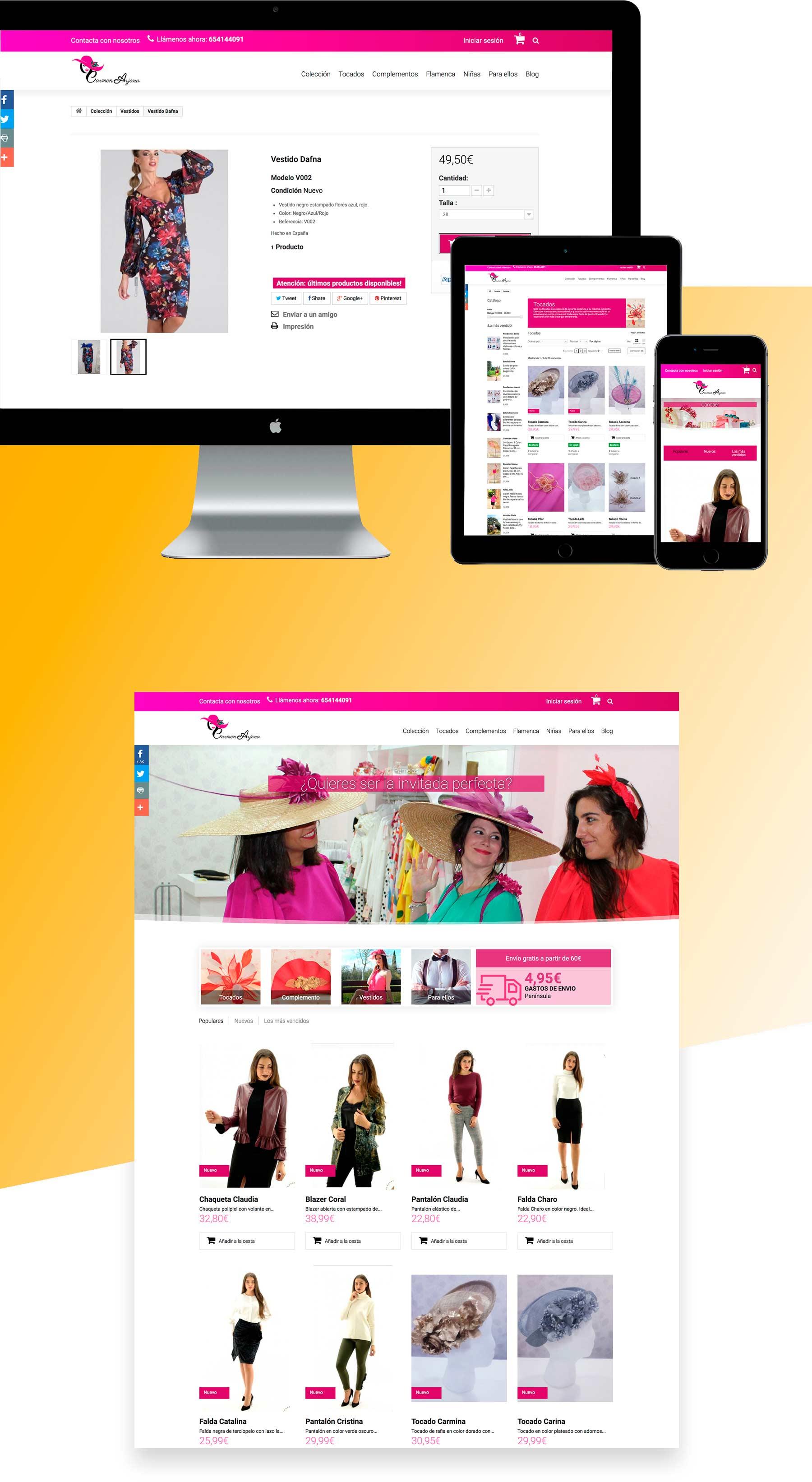 diseño web de tienda online de moda ropa tocados y pamelas - tienda prestashop Malaga - Fuengirola -Marbella