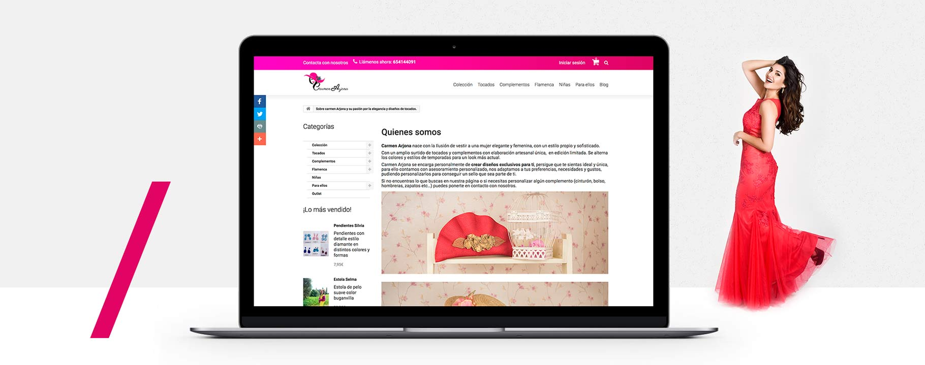 diseño de tienda online a medida tocados pamelas vestido de boda invitada en Fuengirola Marbella Malaga
