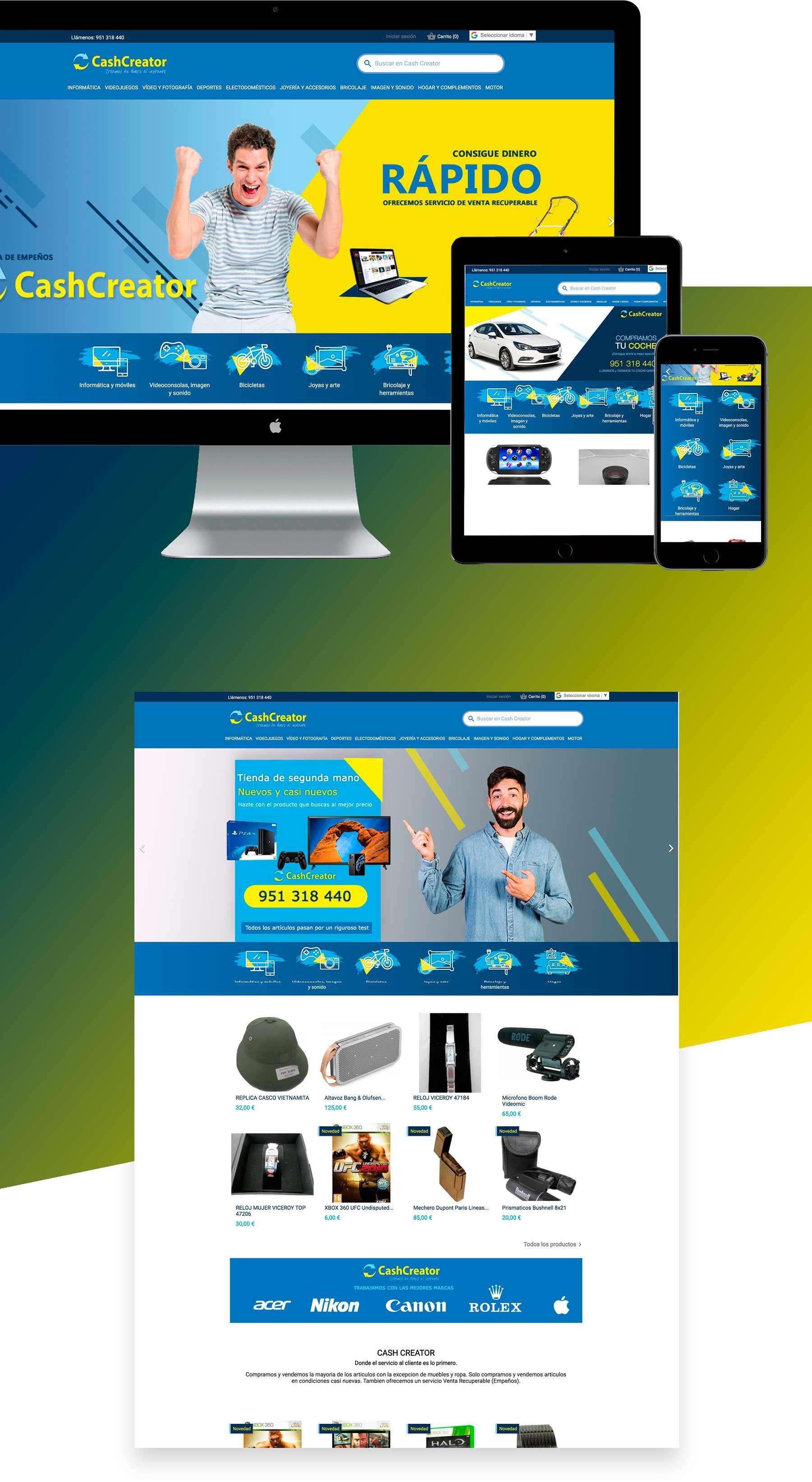 diseño web de tienda online  compra venta segunda mano empeño gana dinero rápido -Marbella