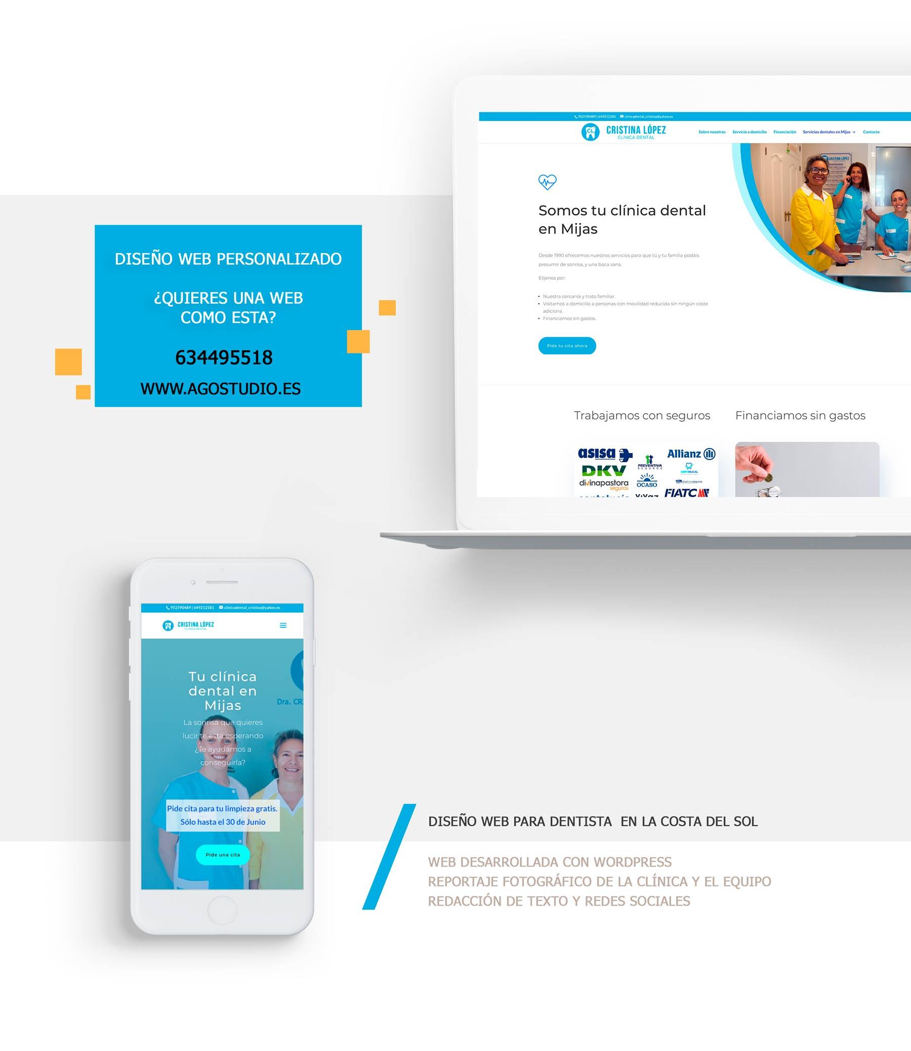 Diseño paginas web de Clinicas dentales , Clinicas Médica (Málaga, Mijas Marbella)