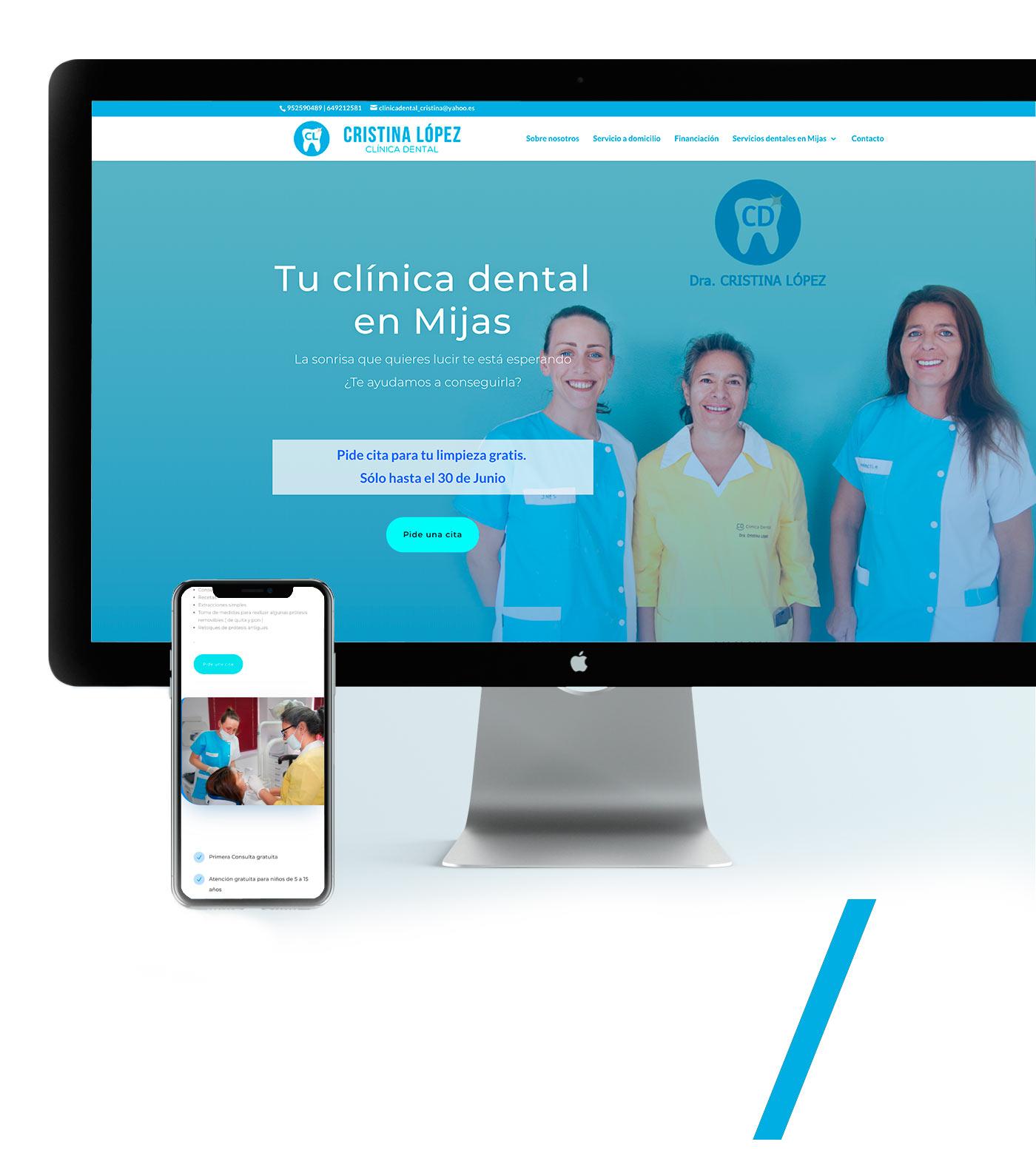 Diseño web para clinica odontologica (dentista Mlaga Mijas Fuengirola)