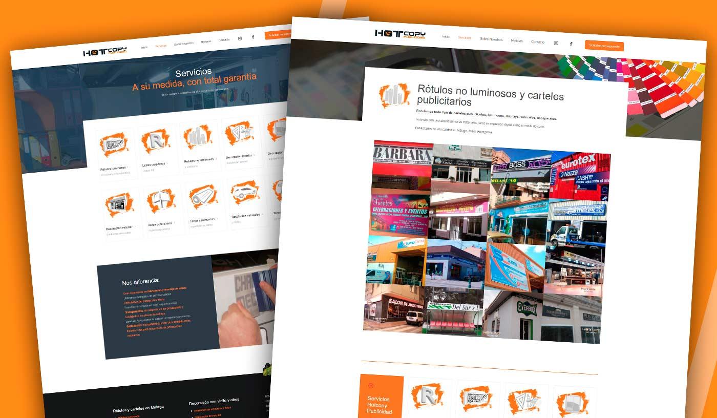 hotcopy publicidad - Diseño wordpress personalizado - Málaga Rotulos