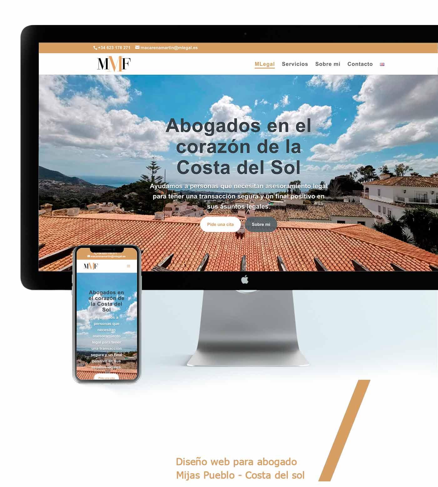 presentacion página web diseño para abogado malaga mijas