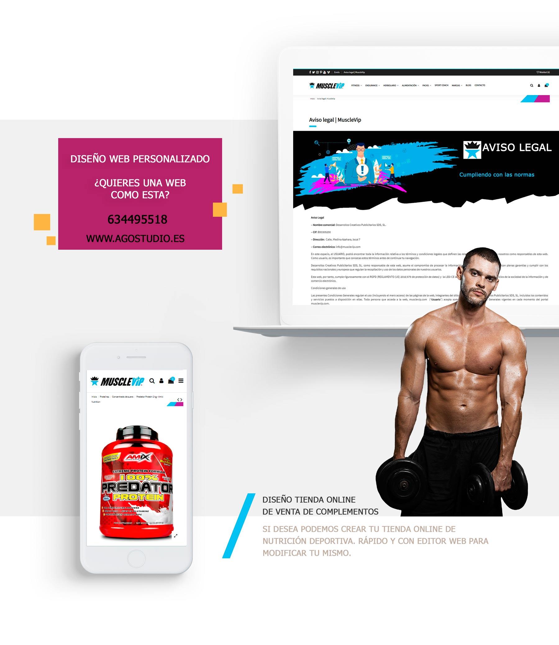 Diseño web tienda online de nutrición deportiva Benalmádena (Málaga)