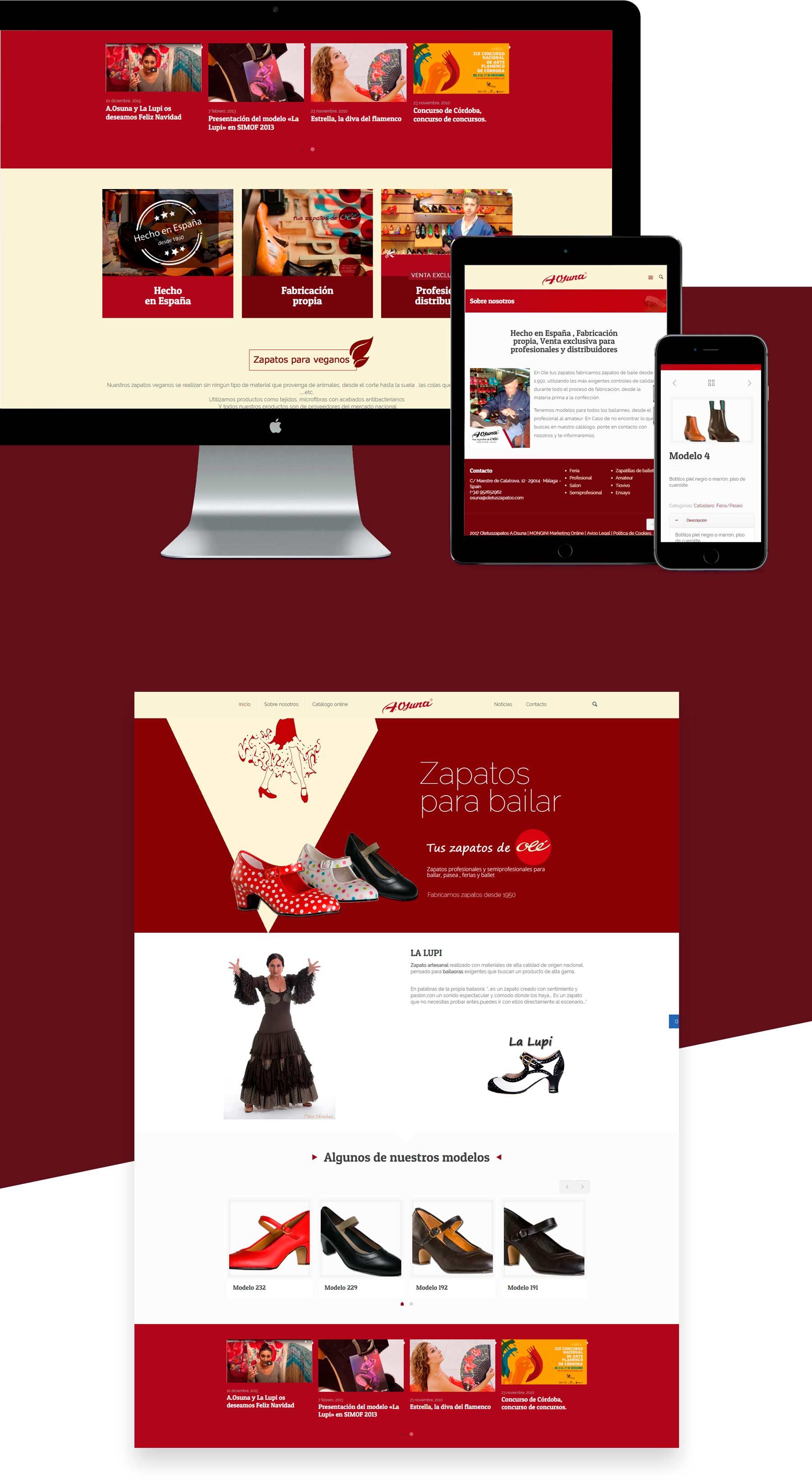 diseño web ole tus zapatos - zapatos de bailes feria