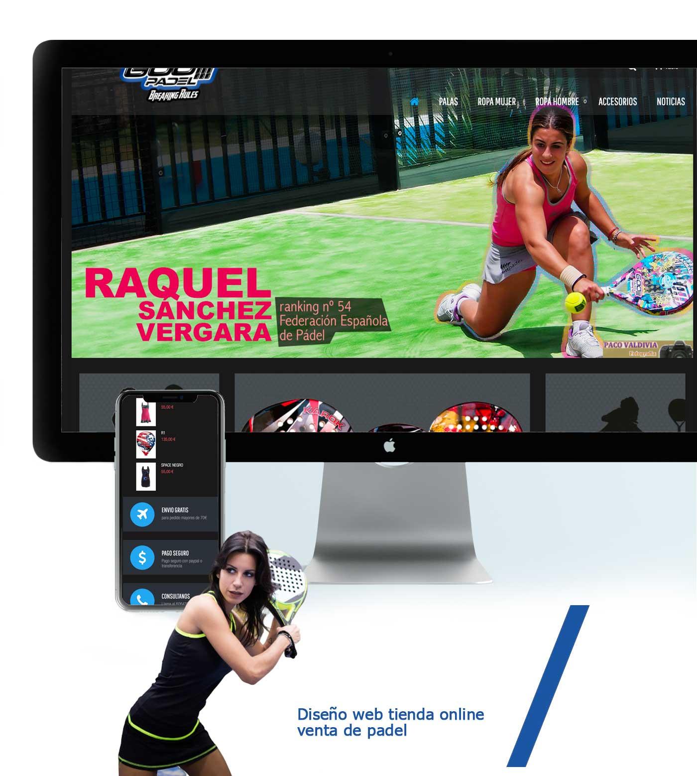 presentacion página web diseño tienda online prestashop padel fabricante padelgoos