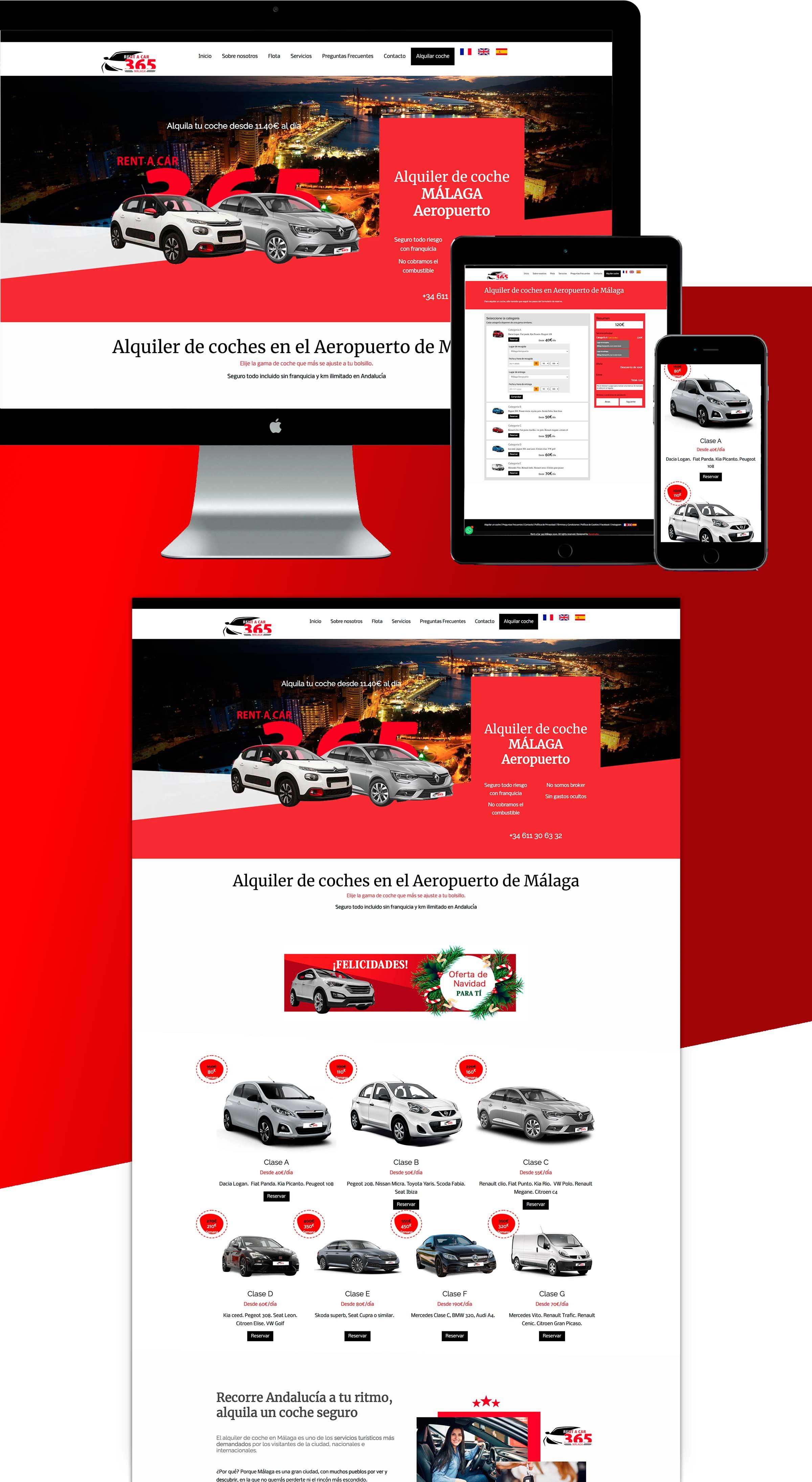 Diseño de página web a medida rentacar en Málaga Sistema de reserva gratis