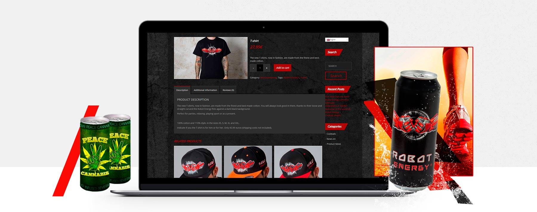 Diseño web tienda online de bebida merchandise