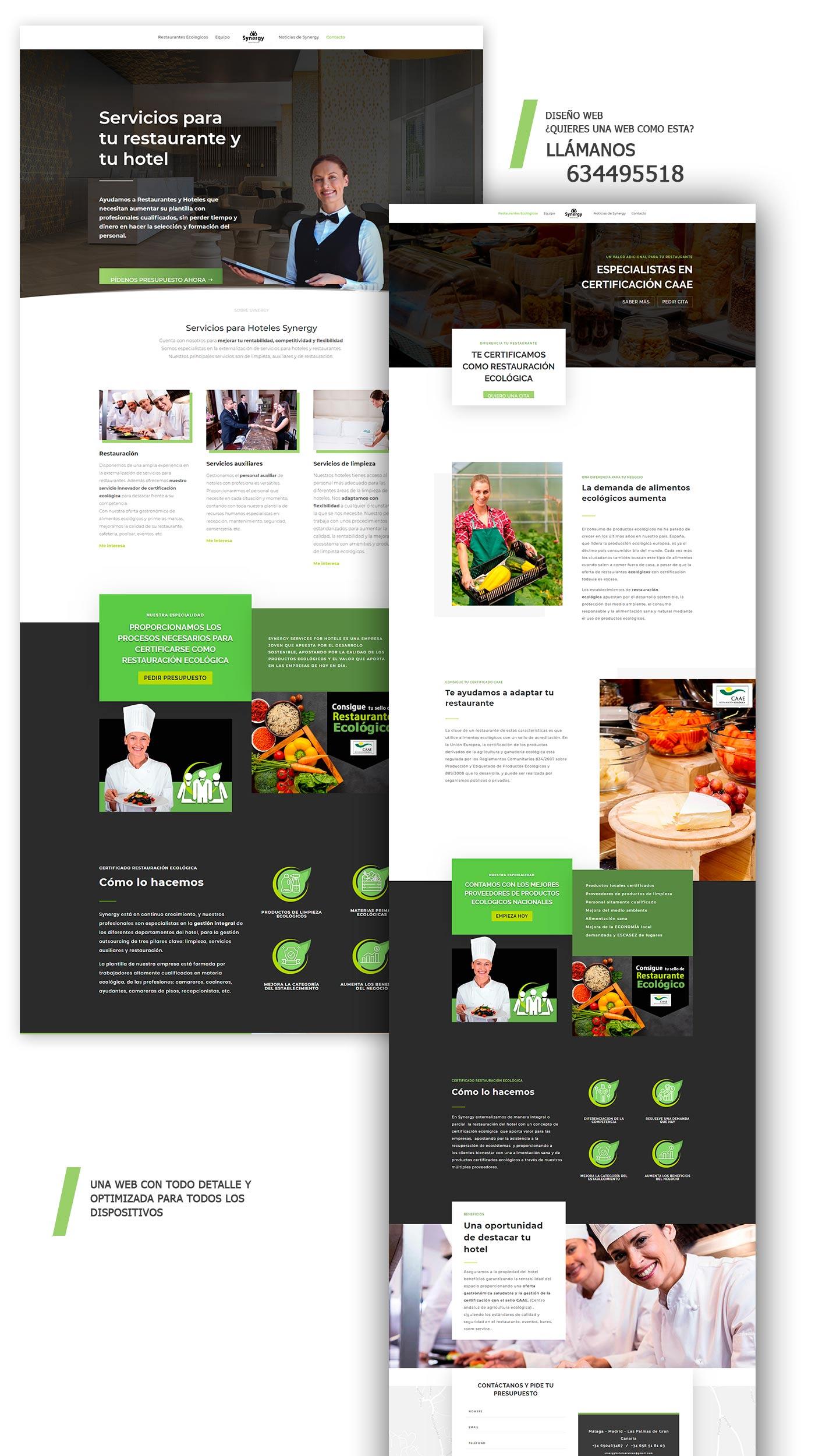 Diseño de página web con wordpress externalizar de servicios hotel y restaurante