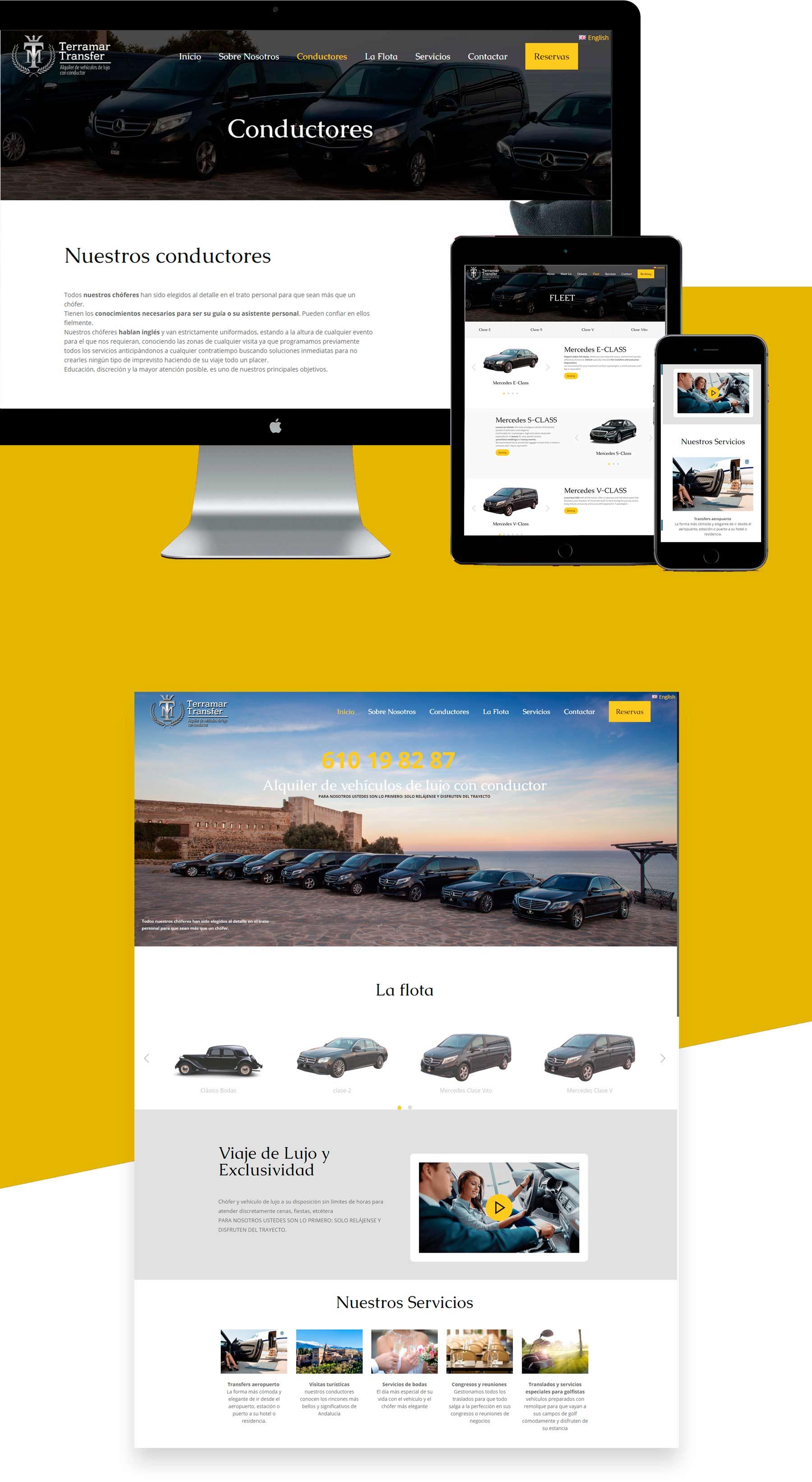 diseño web alquiler de coche con conductor o chofer en Málaga Benalmadena