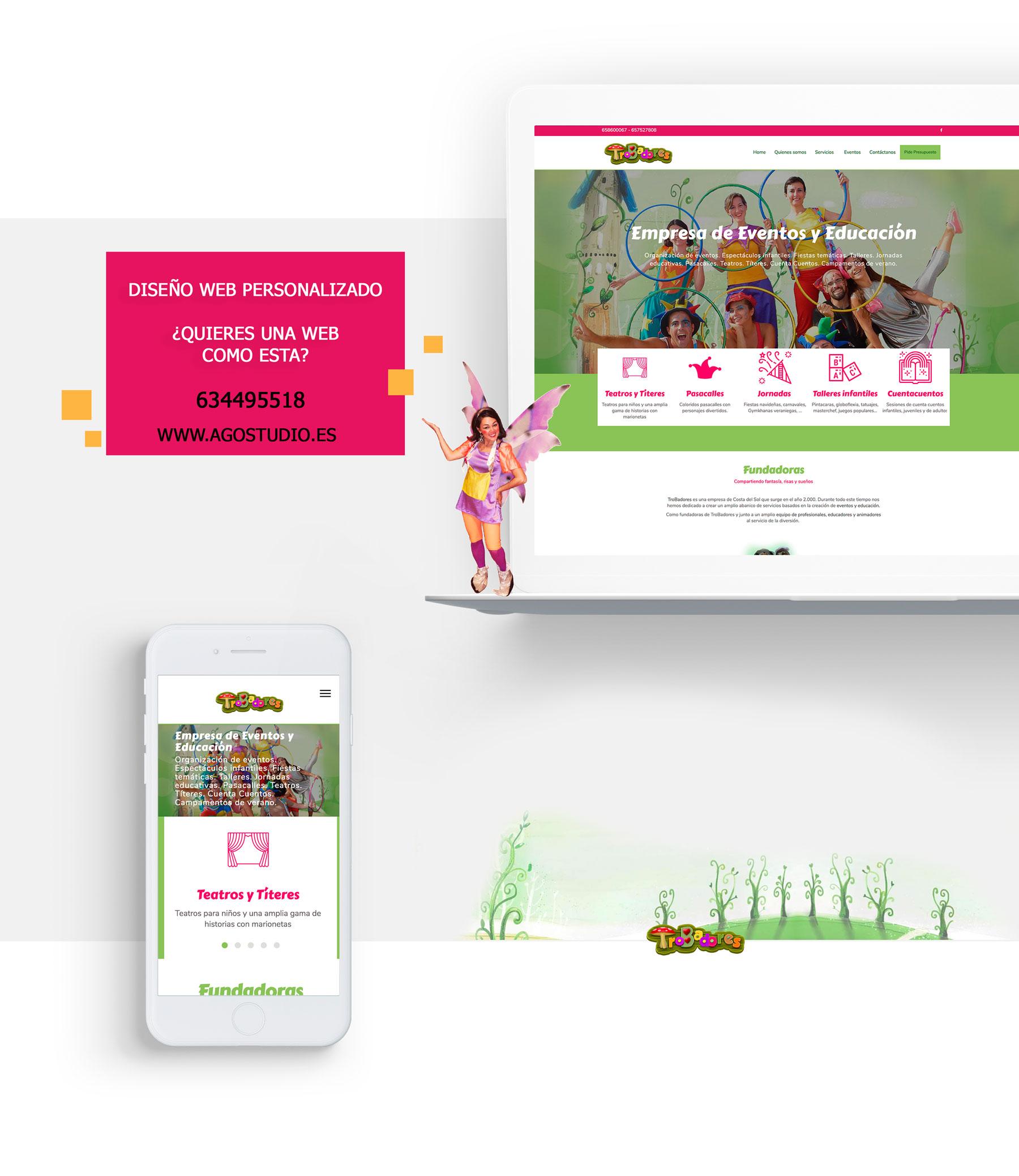 Diseño web para empresa de animación y eventos para ayuntamientos