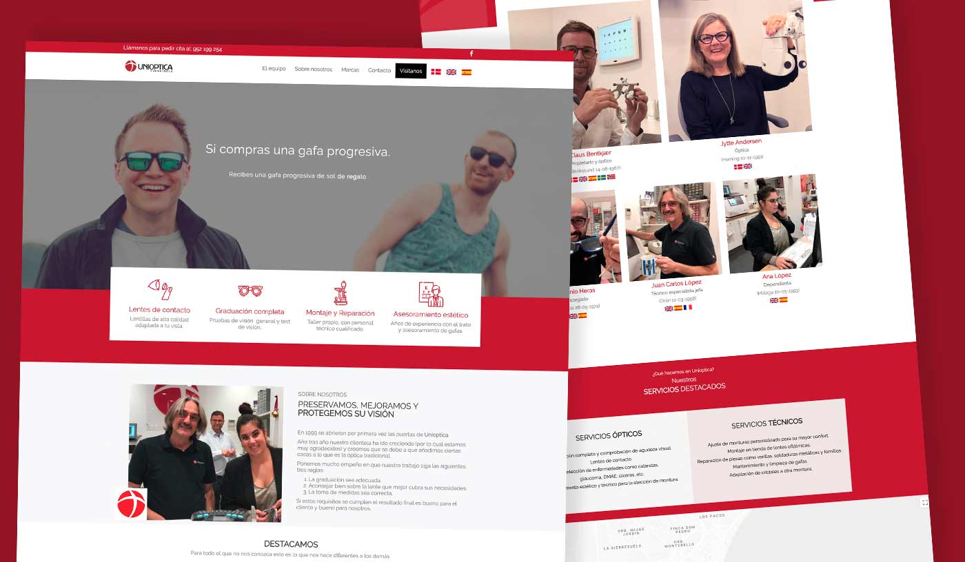 Diseño web corporativo - Gafas- Niviweb