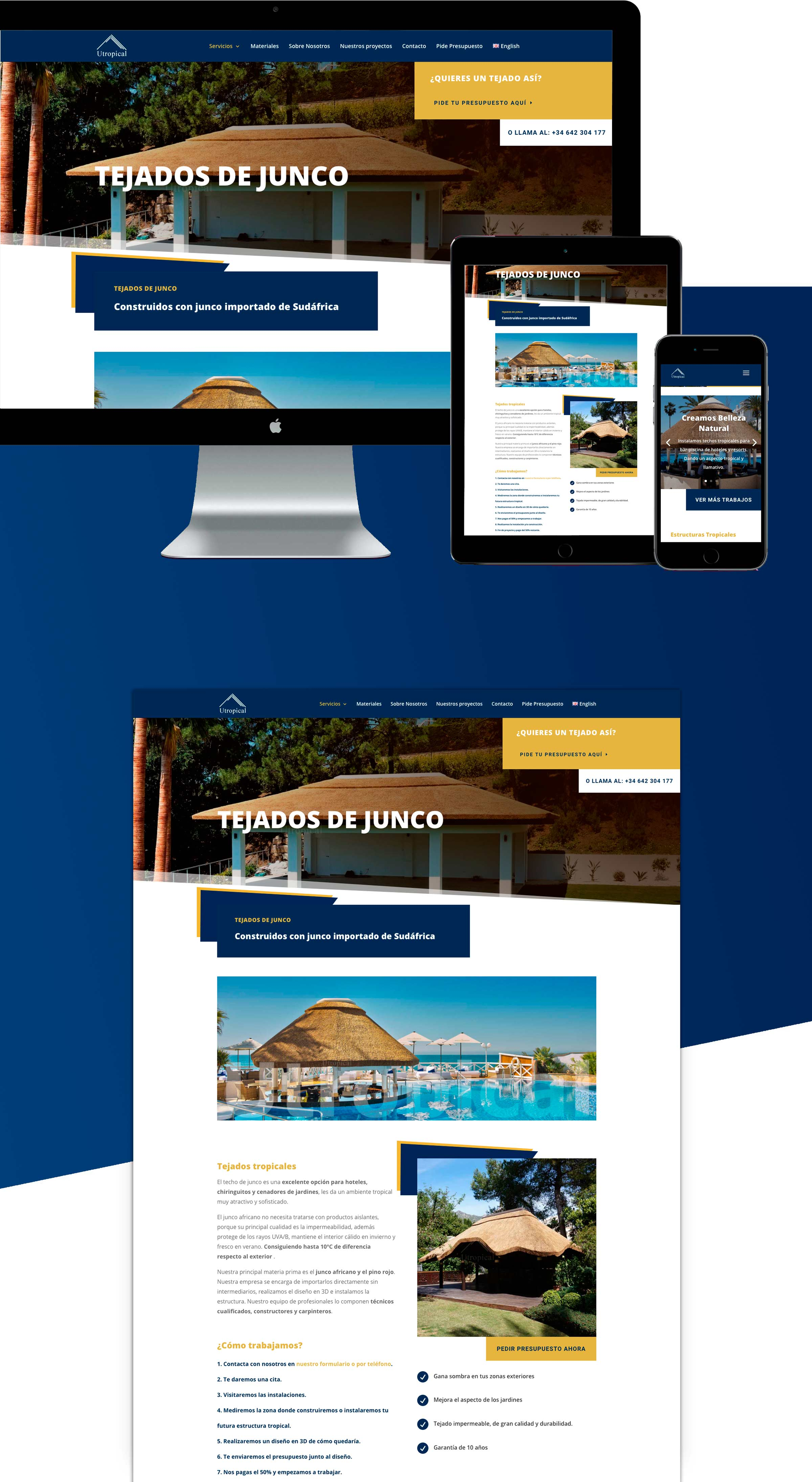 Diseño de página web wordpress Tejados Tropicales Junco